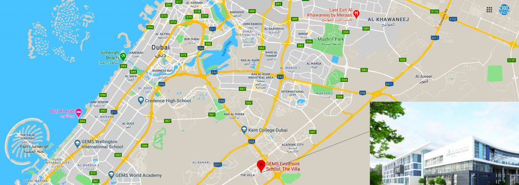 Map showing the location of GEMS Firstpoint school in Dubai together with directions and an image of the main entrance buildings