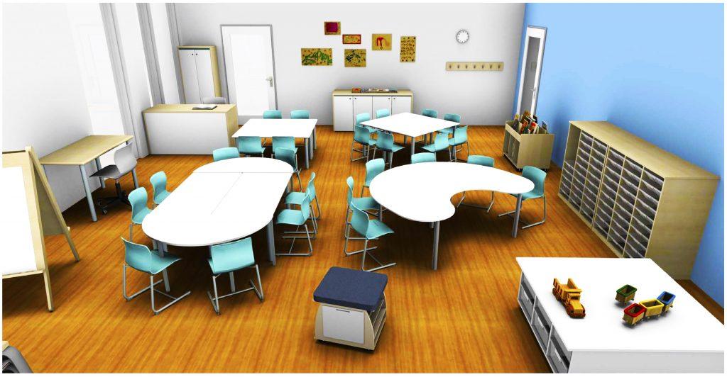 Klassenzimmergestaltung im neuen Lycee Francais Jean Mermoz