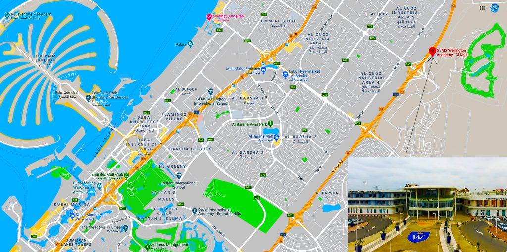 خريطة توضح موقع واتجاهات GEMS Wellington Academy Al Khail - إحدى المناهج البريطانية الرائدة في مدرسة GEMS في دبي