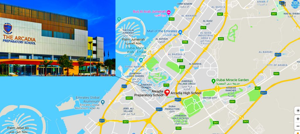 Map showing the location of the Arcadia Preparatory School and Arcadia Schools in Dubai