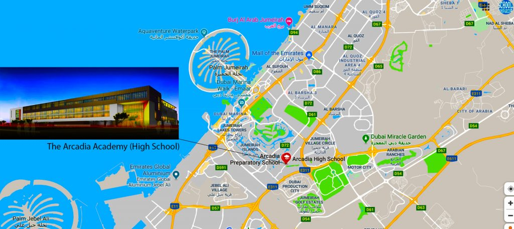 Map showing the location of the Arcadia Academy in Dubai