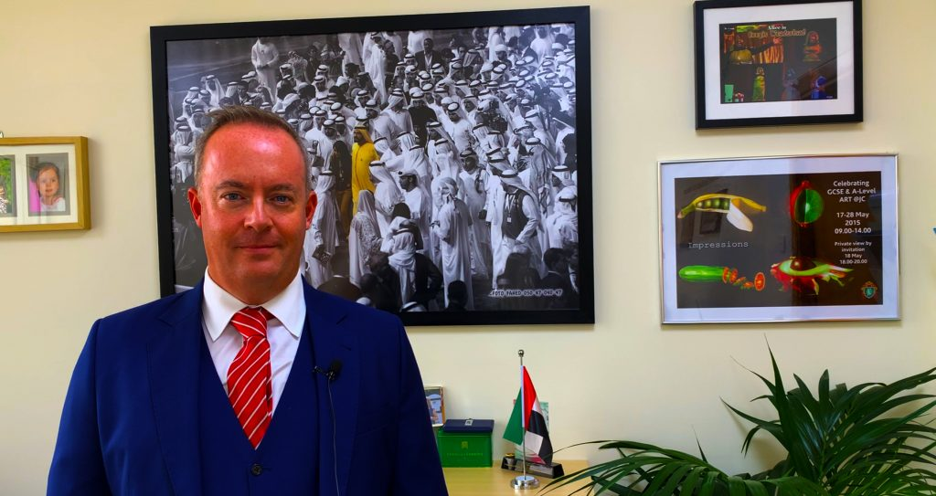 Photograph of Simon O'Connor, new Director of Deira International School in Dubai taken in August 2020 in exclusive conversation with SchoolsCompared.com