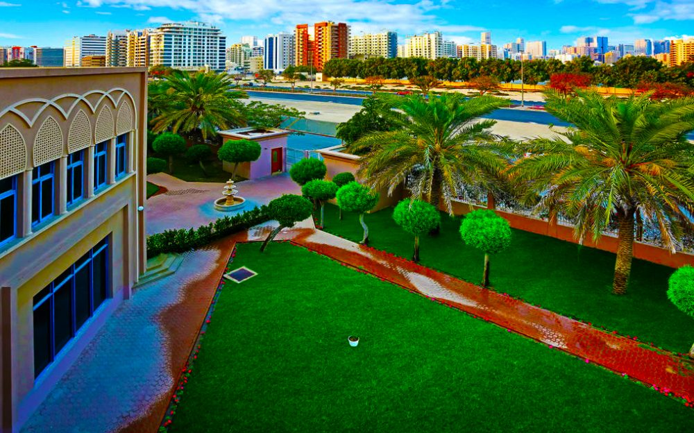 Photograph highlighting the view from Capital School over the Dubai skyline.
