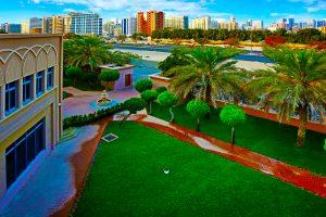 Photograph highlighting the view from Capital School over the Dubai skyline.
