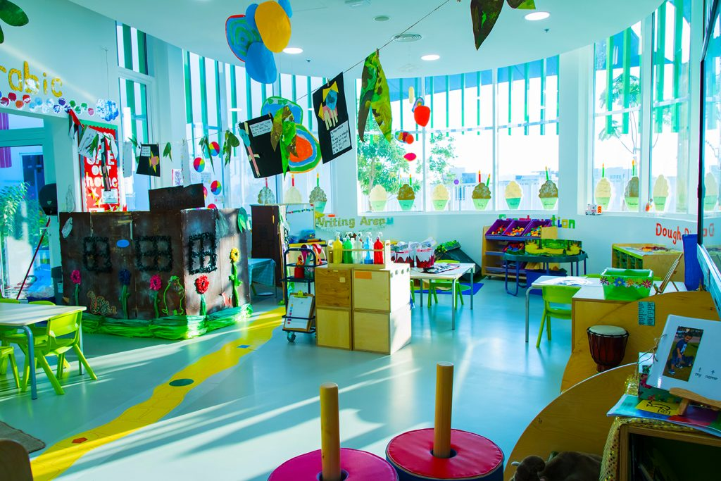 Photograph of a classroom at Dubai Heights Academy in Dubai highlighting the investment in materials and use of colour to inspire students