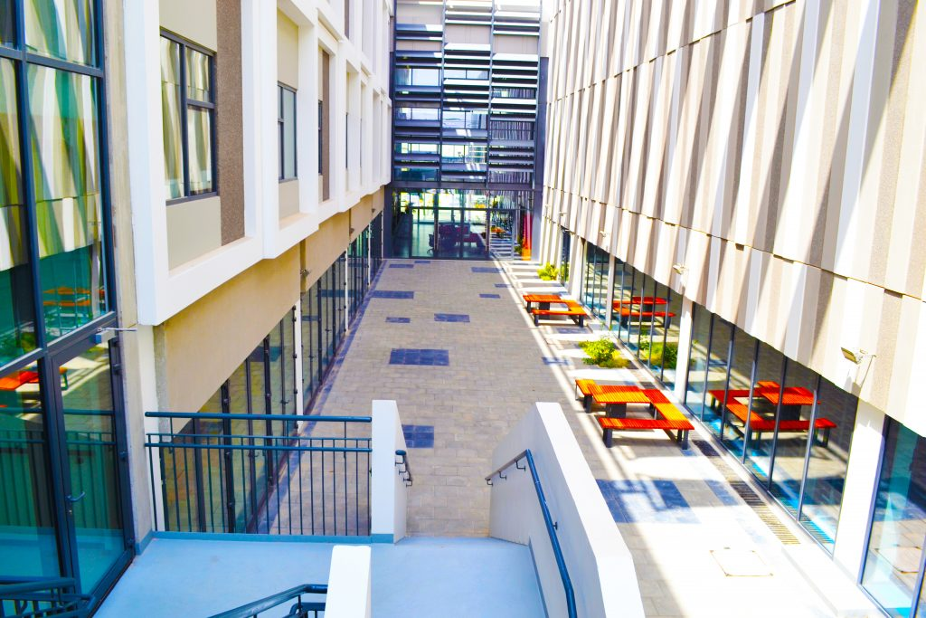 Photograph of the central School Atrium at Dunecrest American School in Dubai