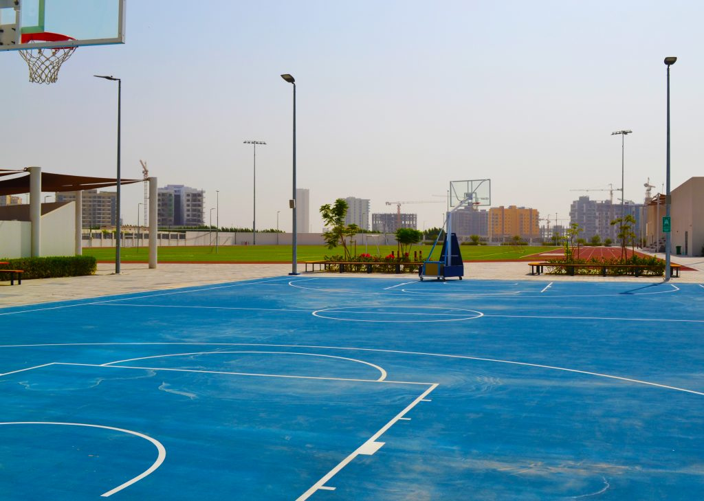 Photograph of a multi purpose court used for sport outdoors at Dunecrest American School in Dubai
