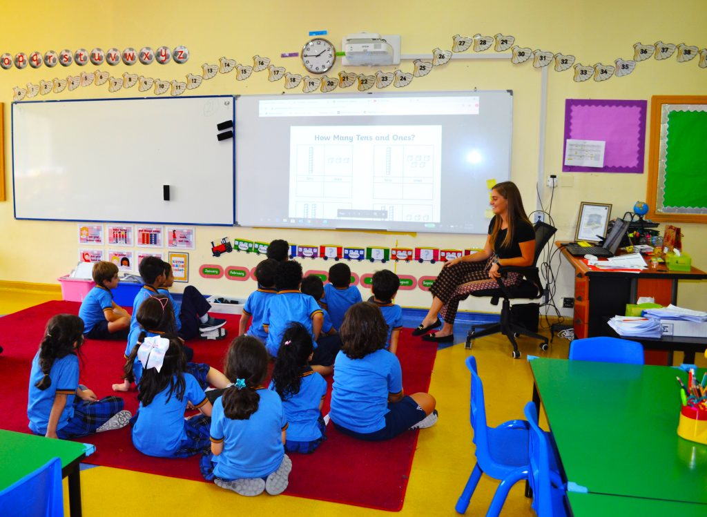 Photographs of Early Years children at Capital School in Dubai in a Mathematics lesson as part of the English national Curriculum.