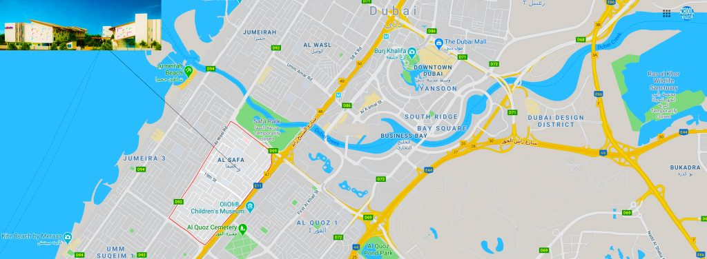 Location and Directions Map to Safa British School in Al Safa JUmeirah Dubai in September 2020
