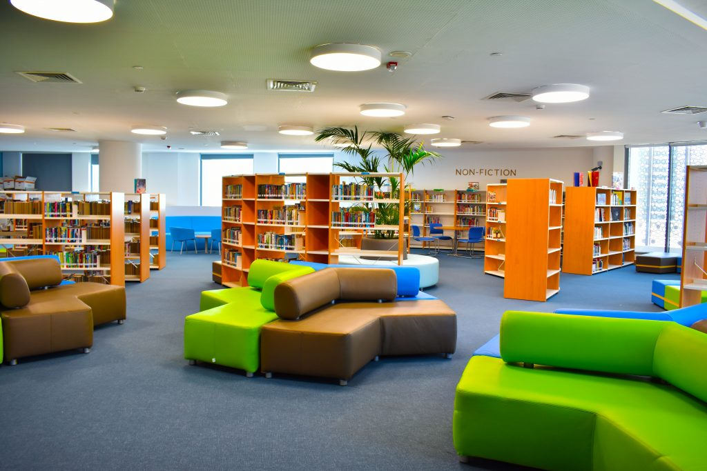 Photograph of the School Library at The Aquila School in Dubai