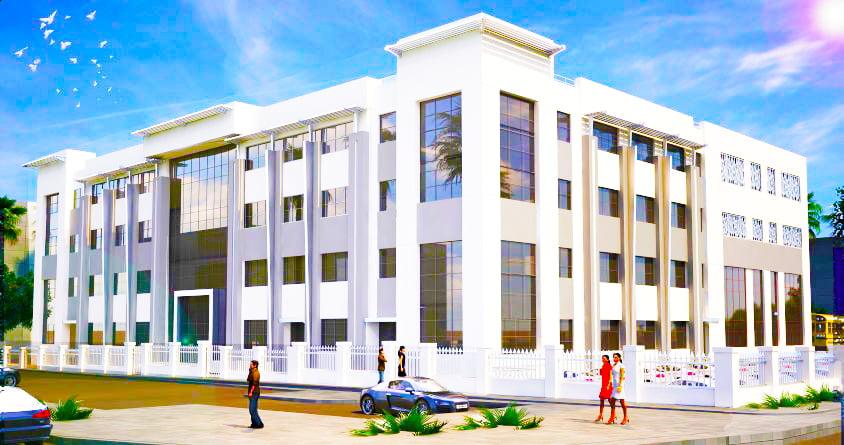 Architektonischer Putz der neuen Cedar School in Dubai, die derzeit im Dezember 2019 gebaut wird. Die Cedar School wird im September 2020 eröffnet.
