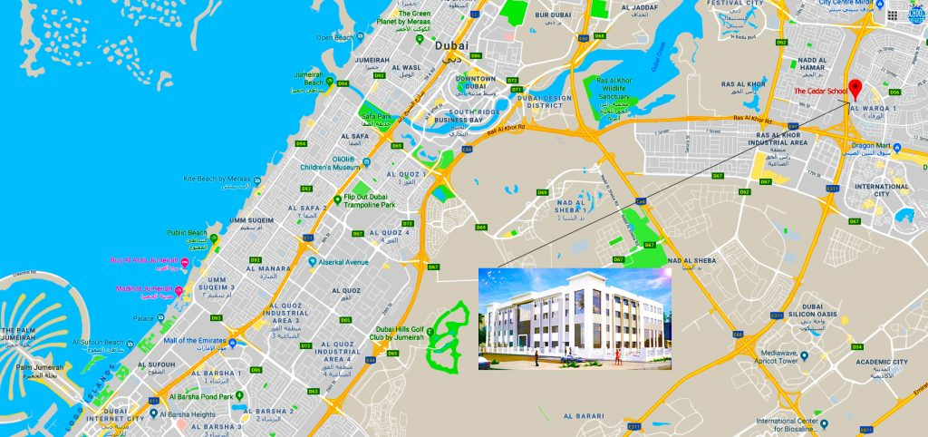 Map showing direction to, and the location of, the new Cedar School in Dubai opening in September 2020