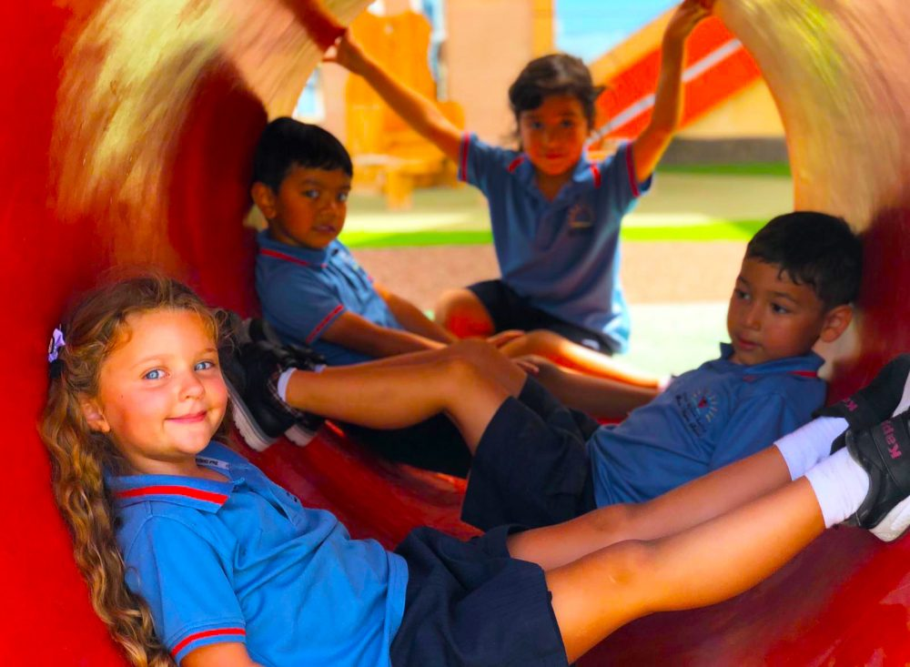 Smart Vision School in Dubai showcasing extensive outdoor facilities for play and to develop socialisation and motoring skills.
