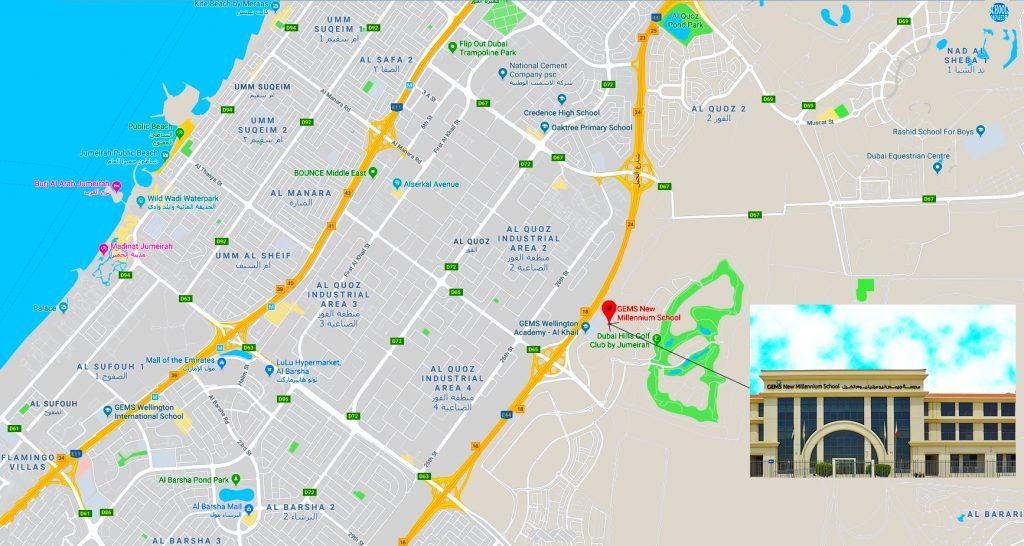 Mapa na nagpapakita ng lokasyon at mga direksyon sa GEMS Millennium School sa Dubai