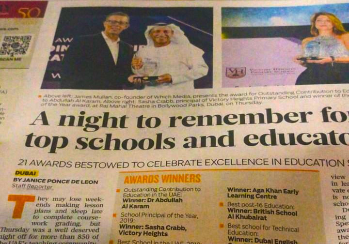 Newspaper excerpt from the Gulf News highlighting the winner of the Best Principal in the UAE at the Top School Awards in Dubai by SchoolsCompared.com