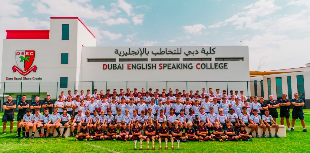 Photograph of the winning Rugby teams at Dubai English Speaking College DESC at the major Rugby event in Dubai in February2020 at which DESC achived a clean sweep of all titles