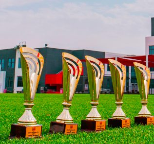 Rugby giants Dubi English Speaking College DESC in Dubai Clean Sweep 2020 - a photograph of the trophies in the DESC grounds