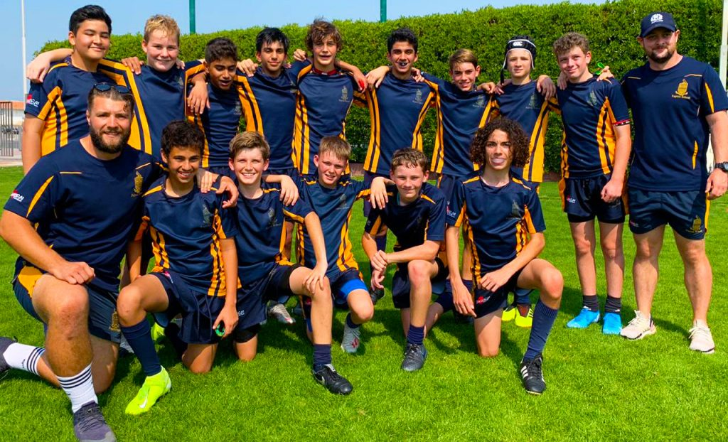 Photograph of the Repton School Dubai Under 14 Team who shone at the DC10s Rugby Tournament