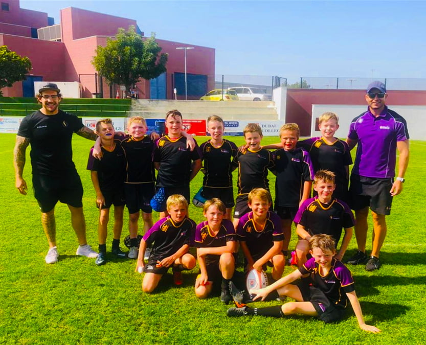Photograph of the Safa Community School Rugby Team which shone at their first competitive showing at the DC10s in Dubai in February 2020