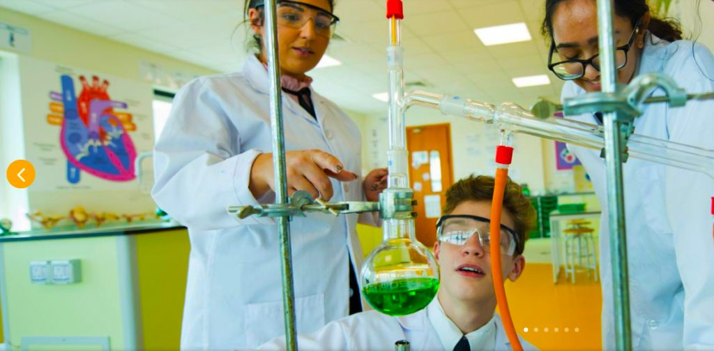Scientists of the future experiment at Safa Community School in Dubai. Safa Community School ofers an extensive array of scholarships for students in Dubai for Sixth Form study.