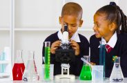 Children at Bright Learners School in Dubai conducting Science experiments in the lab.