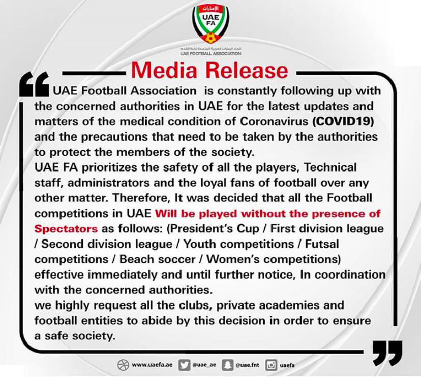 UAE Football Association Bans Sport to fight Coronavirus Covid 19 in Dubai Abu Dhabi