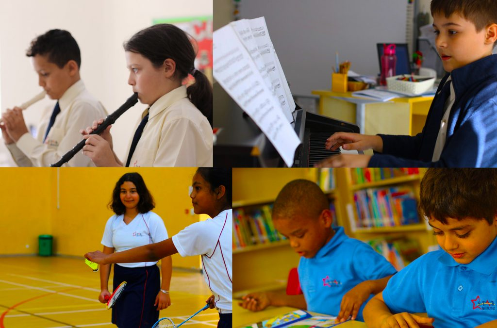Photograph showing a mixture of lessons across music sport and learning at Star International School Mirdif in Dubai