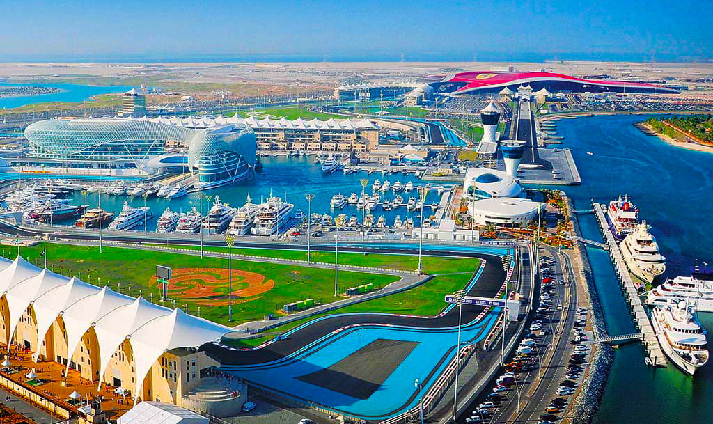 Formula One, F1 Abu Dhabi 2020 photograph of the Yas Island track with one of the longest straights in the world where cars speed up to 350 MPH.