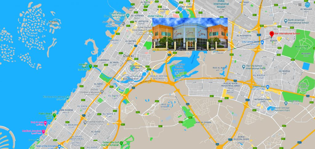 Map showing directions to and the location of Star International School Mirdif in Dubai