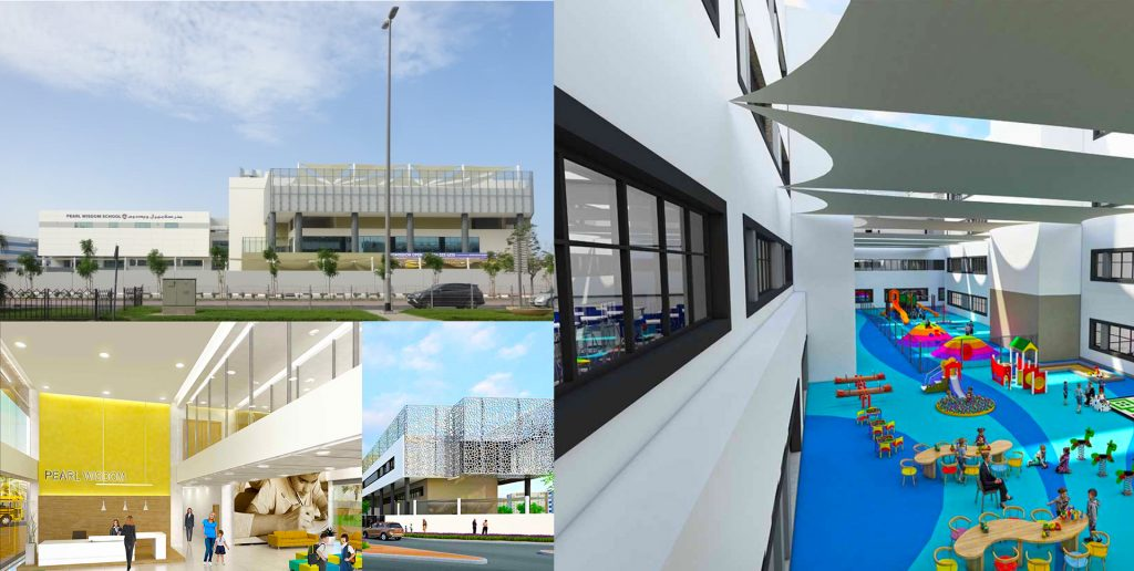 A collage of architectural renders of the new Indian CBSE Pearl Wisdom School in Dubai