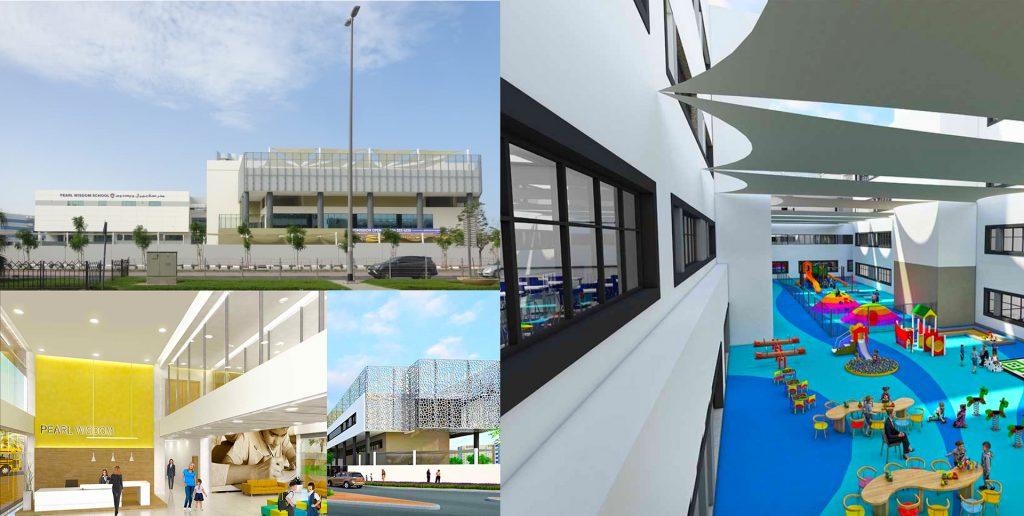 Eine Collage architektonischer Darstellungen der neuen indischen CBSE Pearl Wisdom School in Dubai