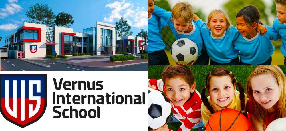 صورة تظهر المباني المدرسية الرئيسية في مدرسة فيرنوس الدولية في دبي والطلاب الصغار المشاركين في الرياضة