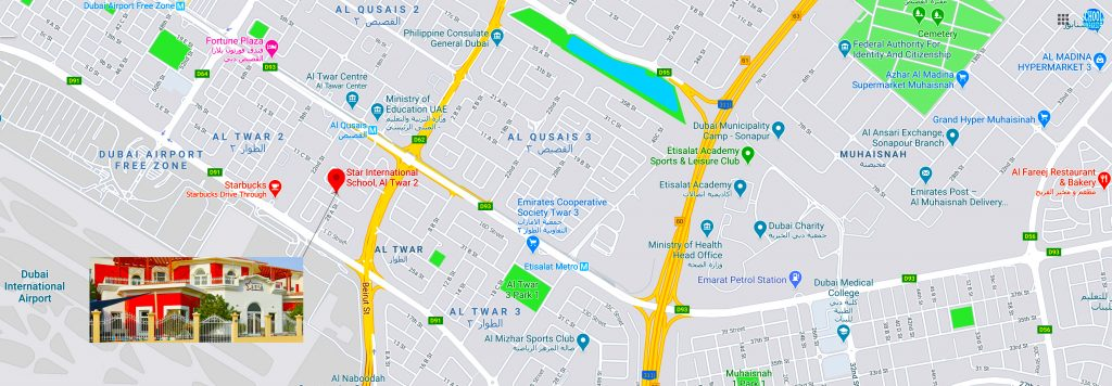High resolution map showing the local area of supporting hub areas surrounding Star International School Al Twar in Dubai