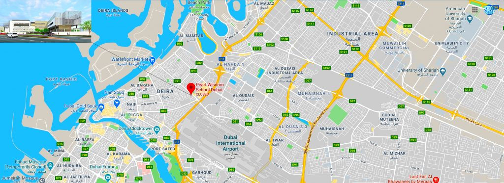 Map showing the location of Pearl Wisdom School in Dubai. Directions to the CBSE School are shown.