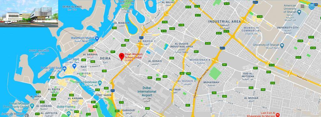 Karte mit dem Standort der Pearl Wisdom School in Dubai. Anweisungen zur CBSE-Schule werden angezeigt.