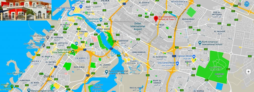 Map showing the location of and directions to Star International School Al Twar in Dubai. The school is in the process of all through launch to Sixth Form and will offer the full UK curriculum from EYFS through IGCSE to A Level and BTEC.