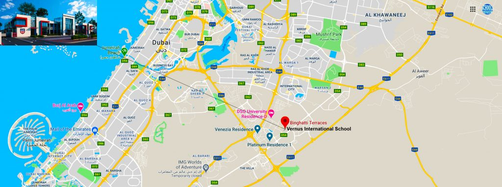 Map showing the location of and directions to Vernus International School in Dubai. The new American curriculum school is based in Dubai Silicon Oasis and opens in September 2020.
