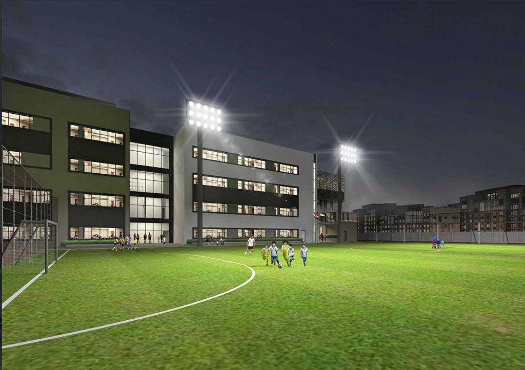 Photograph and render of the outdoor floodlit sports pich at the Pearl Wisdom School in Dubai which opened in may 2020