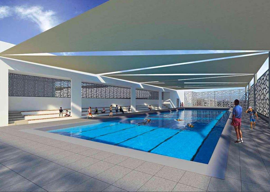 Foto und Render des schattigen Schwimmbades der Pearl Wisdom School in Dubai, das im Mai 2020 eröffnet wurde.