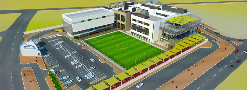 Luftaufnahme der Pearl Wisdom School in Dubai, einer CBSE-Schule, die im Mai 2020 eröffnet wurde