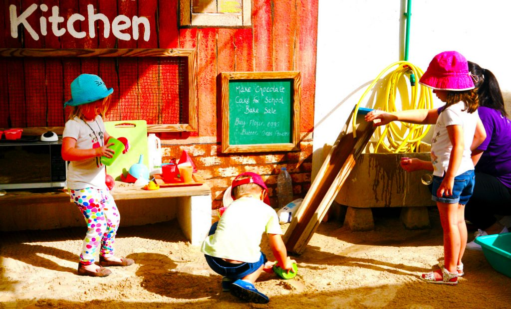 Best Nursery Pre-schools in the UAE feature here exploring the use of outside play in education to inspire creativity and fine motoring skills at the Childrens Oasis Nursery in Dubai