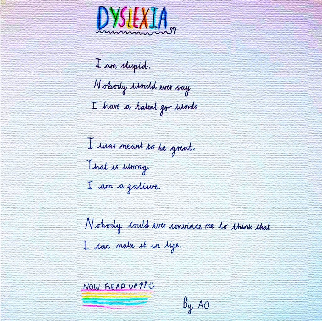 Is my Child dyslexic? A Guide to Dyslexia is captured by a poem by a child that catures the beauty and challenges of dyslexia.