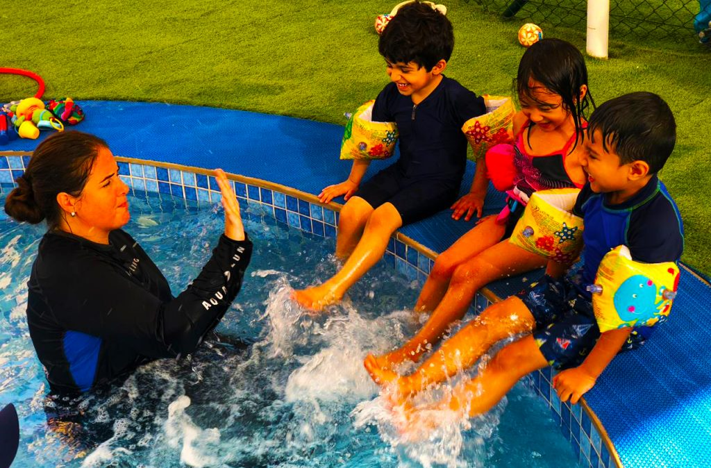 Children swimming at Future International Nursery in Dubai