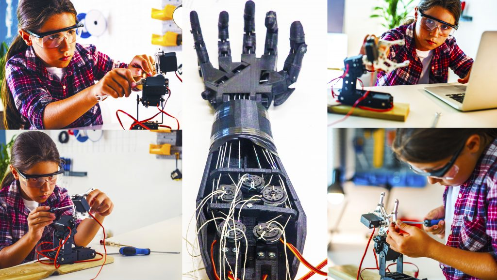 Future of Schools showing an image of a child creating an articulated robotic arm