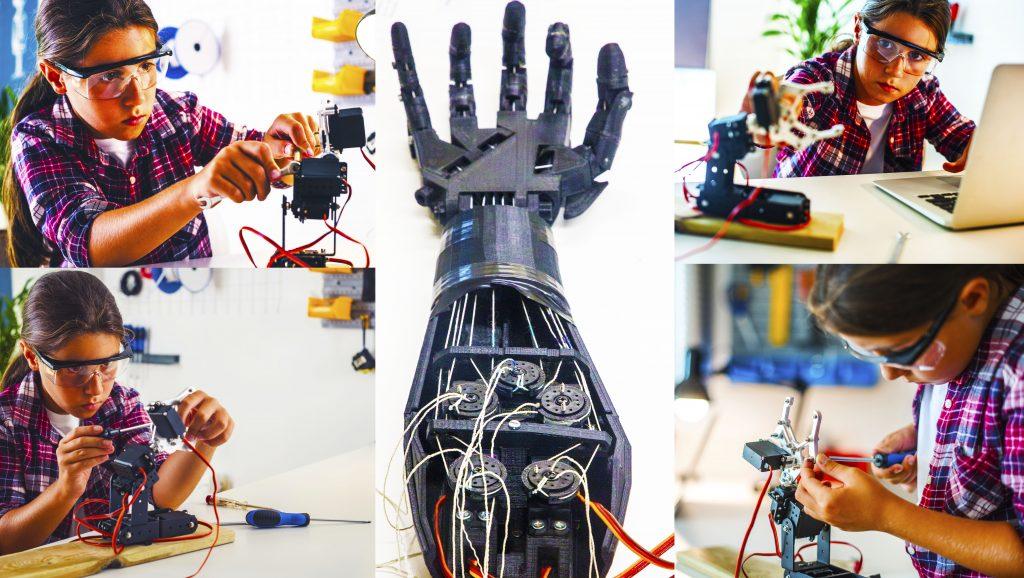 Hinaharap ng Mga Paaralan na nagpapakita ng isang imahe ng isang bata na lumilikha ng isang articulated robotic arm