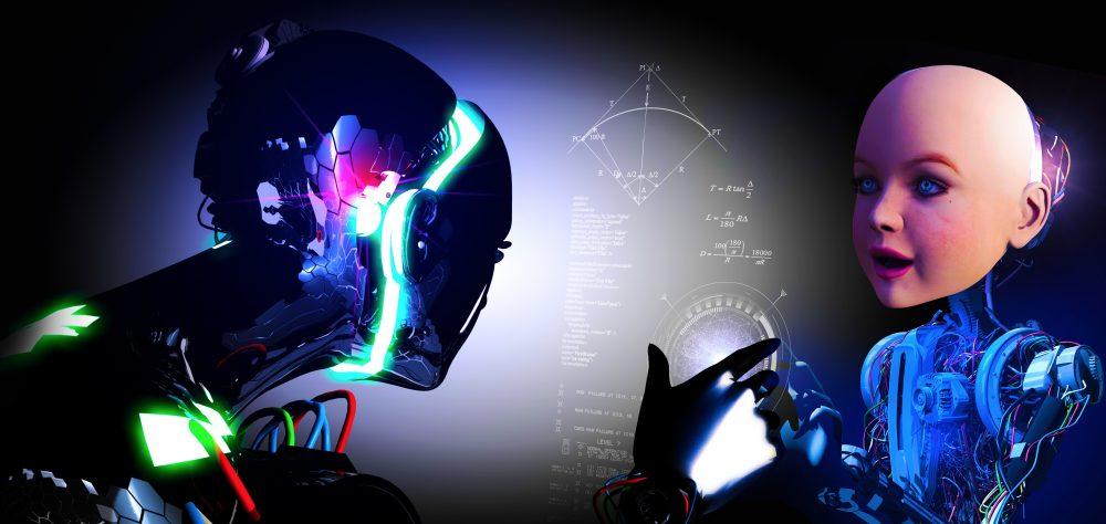 Schulen der Zukunft? Schulleiter sagen die Zukunft der Schule in den VAE voraus. Das Foto zeigt Kinder, die vor einem riesigen Bildschirm sitzen und deren Kopf durch einen Roboterkopf ersetzt wird.