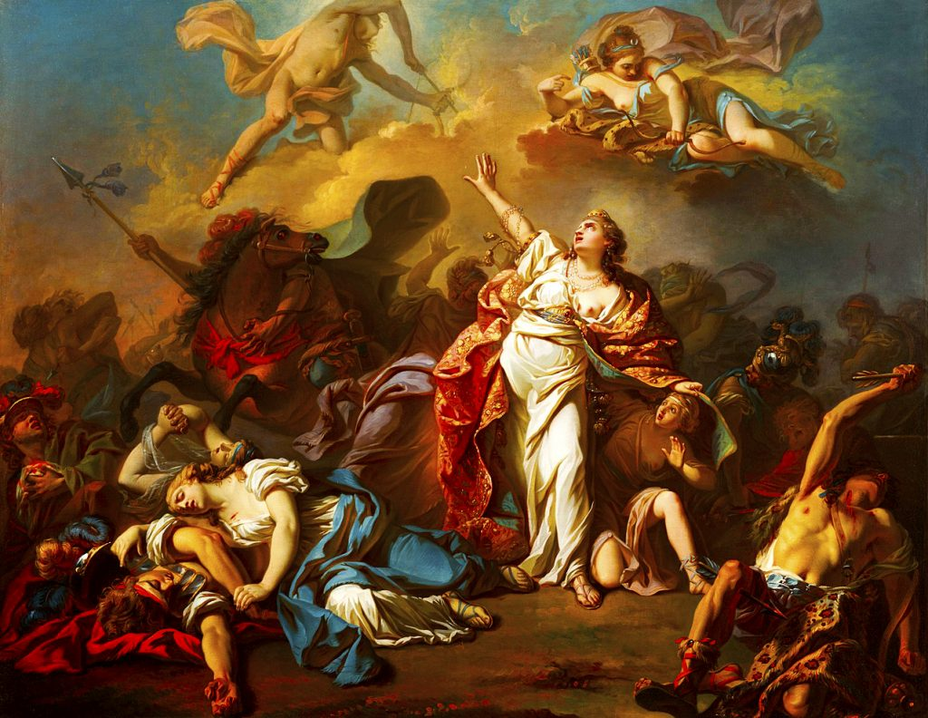 Write a Novel Challenge Chapter 6 illustration highlighting hubris through the scene of Niobe painted in oil on canvas by Jacques Louis David in 1772. The painting is currently housed in the Dallas Museum of Art.