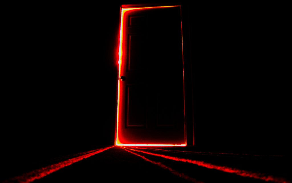 Write a Novel Challenge Chapter 11 picturing a door opening up out of the intense blackness