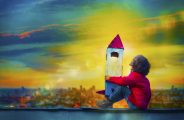 How to Choose the Best School for Your Child. School Leaders Reveal All. Illustration of boy dreaming big with a rocket to highlight how the best schools inspire children.
