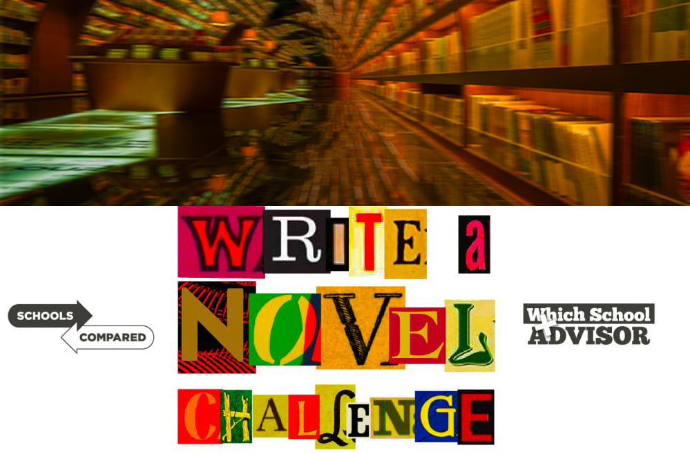 Ein Roman geschrieben von Kindern Foto einer Bibliothek in einem Tunnel